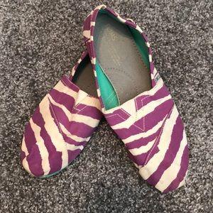 Purple and White Zebra Stripe Toms